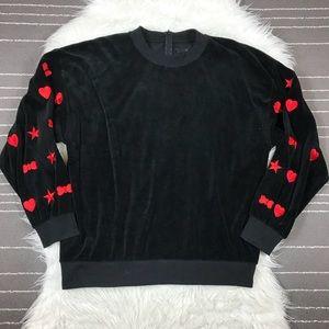 Reformation Embroidered Velour Sweatshirt